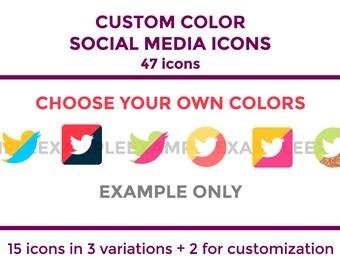 Custom Color Social Media Icons | Blog Icons | Social Media Icons | Social Media Buttons | Website Icons | Social Media