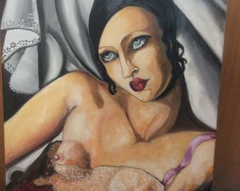 "Portrait to the oil Portrait Canvas (the pink shirt), woman, Art Deco, ""Tamara de Lempicka""50X70cm oil tribute"