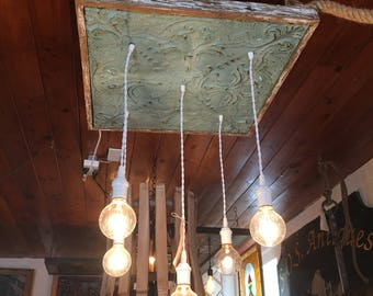 Handmade Antique Ceiling Tin and Wood Light Fixture Chandelier