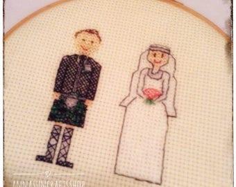 Personalised Scottish Wedding Cross Stitch Gift - Wedding Gift - Keepsake - Anniversary - Husband - Wife - Bride - Groom - UK Free Postage
