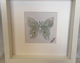 White butterfly sea glass art