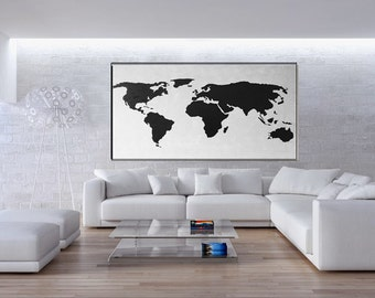 Map Painting, Black White, Extra Large Wall Art, Huge Abstract Painting Canvas, Vertical Canvas Painting, Handmade Original/Kathleen Artist