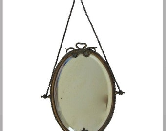 Antique French Bronze Hanging Mirror