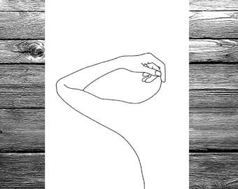 Women's body linear line hand drawing available in A6, A5 or A4 size, black and white minimal artwork illustration