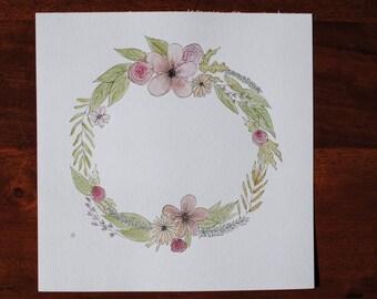 8x8 Floral Wreath