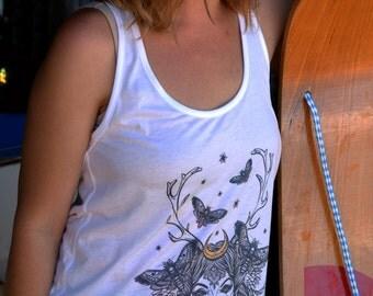 Antler Goddess Organic Cotton Singlet - super comfy, fair trade & eco inks