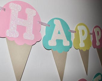 Ice Cream Banner, 1st Birthday Banner, Summer Banner, Ice Cream Cone Banner, Ice Cream Birthday, 1st Birthday Party