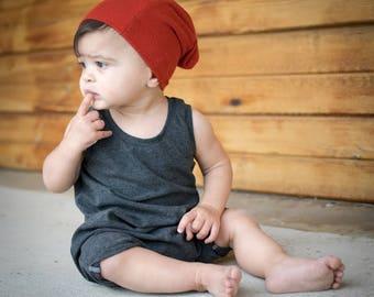 baby romper - toddler romper - boy romper - girl romper - grey romper - gray romper