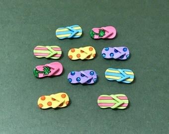 Dress it Up Fab Flops Novelty Buttons - Flip Flops - Summer Shoes - Glitter - Fashion Accessories - Bag Embellishment - Fun Jewellery Sandal