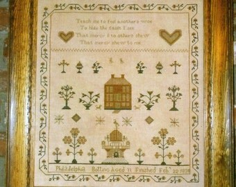 Philadelphia Botting Reproduction Sampler by Cardan Antiques and Needlework Counted Cross Stitch Pattern/Chart
