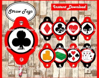Casino Night Poker Straw Tags, printable Casino Night Poker party Straw Tags, Casino Straw toppers