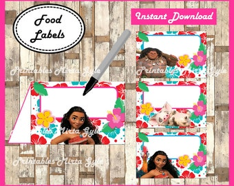 Moana Food labels, printable Moana party food tent cards ,Moana food tent cards