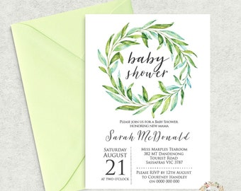 Wreath Baby Shower Invitation Template, Editable Baby Shower Invite, Instant Download, Gender Neutral Printable Invitation PDF