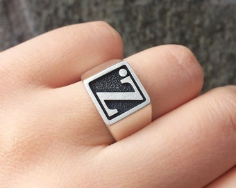 Sterling Silver Square Signet Ring, Custom Initial Signet Ring, Personalized Signet Ring, Engraved Initial Signet Ring, Unisex Signet Ring