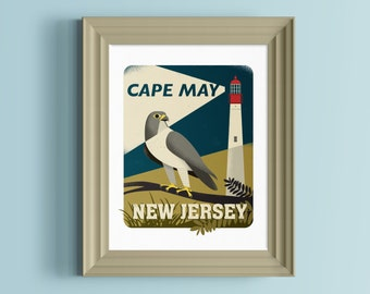 New Jersey art   New Jersey gift   Lighthouse gift   Lighthouse decor   Cape May NJ   New Jersey wall art   Peregrine Falcon   Jersey Shore