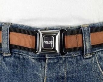 Kids Belt Press Belt Adjustable children's Girls belt or Boys belt in Brown with Black