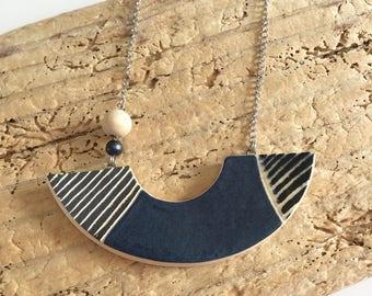 Collar, bib, geometric, blue, speckled black, asymmetrical, ceramics, string
