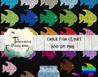 Chalk Fish Clipart pack - chalkboard fish clip art - ocean clipart - nautical clip art - fishbowl - fish bowl - chalk ocean animals - color