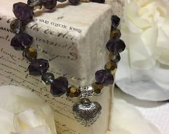 Heart Charm Bracelet Purple and Gold Crystals Elegant Evening Wedding Women Accessories Jewelry Jewellery Ladies
