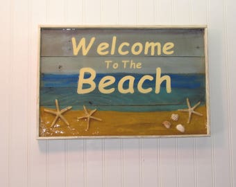 """Pallet wood & Resin """" Welcome To The Beach"""" sign."""