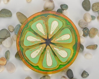 Glass Cup Coaster,Kitchen Coasters,Citrus coasters Update tags,Colored Glass Kitchen Decoration,Drink coasters, Hand painted, Kitchen decor
