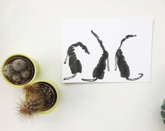 Trio of Handprint dogs, A4 greyhound handprint, Dog handprint, Hand print dog, Original handprint, Dog print, greyhound art, greyhound gift,