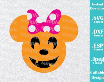 INSTANT DOWNLOAD SVG Disney Inspired Halloween Pumpkin Minnie Ears Halloween Cutting Machines Svg, Esp, Dxf, Jpeg Format Cricut Silhouette