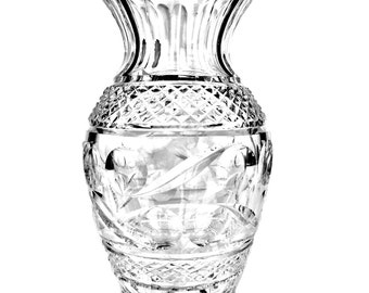 Waterford Giftware Collection in the Swirl Pattern C. 1990 w/ ORIGINAL STICKER. Cut Crystal Giftware Vase.