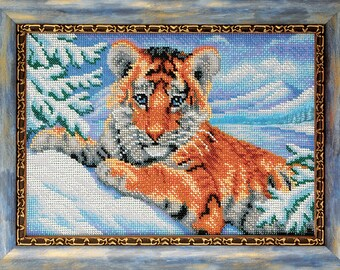 "Bead Embroidery Kit DIY Tiger Cub 7.4""x10.6"" - Color Canvas Bead Set Needle Guide Beginners"
