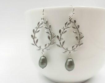 Silver Laurel Wreath Earrings, Green Teardrop Pearl Earrings, Laurel Leaf Earrings, Wedding, Chandelier Earrings, Bridal Bridesmaid Gift