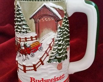 Budweiser Holiday Collection 1984 Beer Stein/Budweiser Holiday Beer Stein/Covered Bridge Beer Stein/Collectible Beer Stein/Vintage Stein