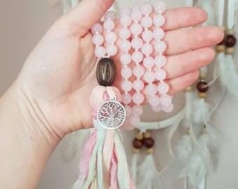 Pink Love Mala // 108 beads // Rose Quartz mala // Meditation // Mantra // Yoga