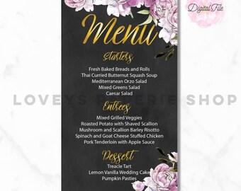 WEDDING MENU-Peony Pink Flowers Chalkboard Background Gold Confetti Wedding Menu Card Digital Printable Modern Antique DIY