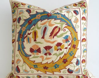 SALE - Suzani Pillows - 20x20 Blue Yellow Ivory Hand Embroidery Vintage Silk Pillow Decorative Pillows For Couch Throw Pillow Accent Pillow