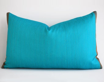 handwoven silk lumbar pillow cover blue pillow cover 12x20 accent pillows large sofa pillows