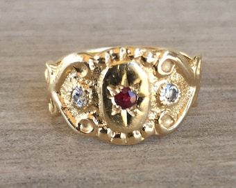 FLASH SALE 14k gold ruby and diamond pinky ring