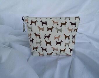 Cosmetic Bag / Dog Cosmetic Bag / Makeup Bag / Dog Makeup Bag / Zippered Pouch / Bag / Costmetic Case / Makeup Case / Toiletry Bag