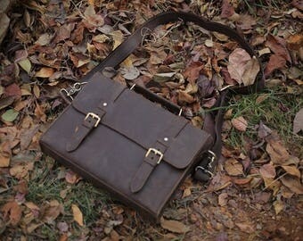 Brown Leather Messenger bag/ Leather Shoulder Bag/ Leather Briefcase / Leather School Bag/ Leather Mens Bag/ Personalized bag