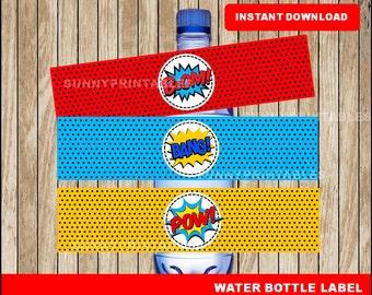 Superhero water bottle labels; printable Super Hero water, Superhero party water bottle instant download