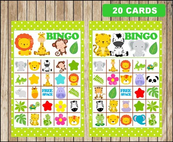 Printable 20 Safari Bingo Cards printable Safari baby shower