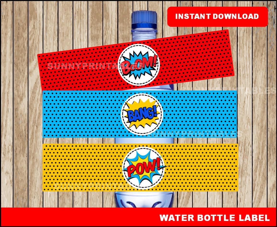 superhero water bottle labels printable super hero water