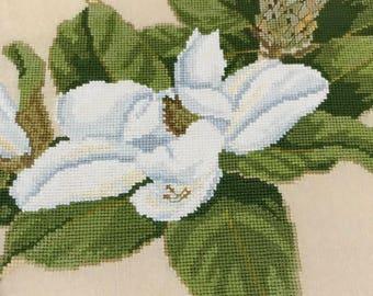 Vintage counted cross stitch Magnolia pattern, flower cross stitch