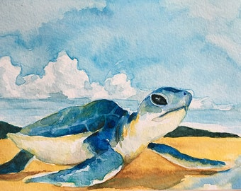 Postcard, sea turtle, original watercolor, handmade, animal art, gift for special one