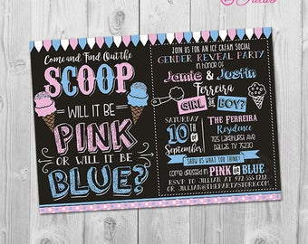 Ice Cream Gender Reveal Invitation, Ice Cream Gender Reveal Party Invitation, Printable What's the Scoop Gender Reveal Invite, Pink or Blue