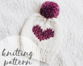 Knit hat pattern, knitting pattern, knitted beanie, heart hat pattern, pom pom hat, knit beanie pattern, knit heart hat, baby hat pattern