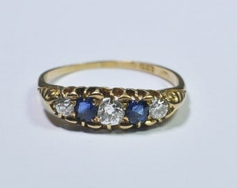 Victorian Sapphire and Diamond 5 Stone Band Ring