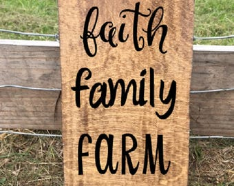 Faith, Family, Farm, Rustic Sign, Farmhouse Style, Farm Decor, Ag Gift, Father's Day, Agriculture, Gift Under 20, Faith, Hope, Love, FFA, 4H