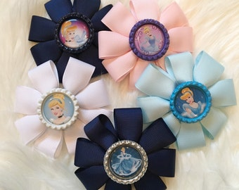 Cinderella hair bows/barrettes- princess hair bows/ handmade bows