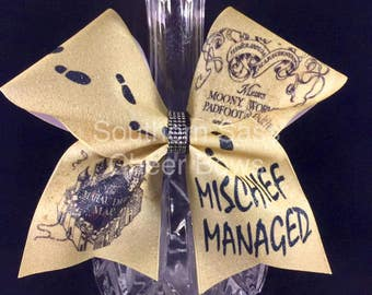 Harry Potter Mischief Managed light gold glitter cheer bow