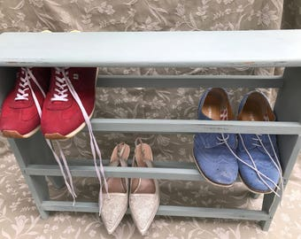 Wooden distressed shoe rack
